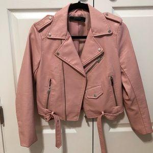 Pastel pink moto jacket